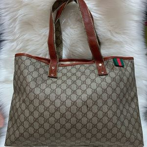 💯Authentic GUCCI GGShelly PVC Leather Tote 211134